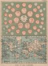 TIME OF ALL NATIONS. predates UTC/standard hourly time zones.  JOHNSTON 1895 map